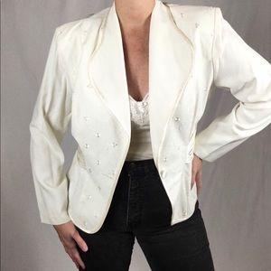 Vintage, 80s, white blazer